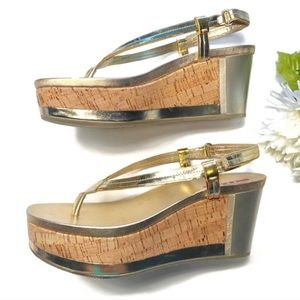 Prada Shoes - PRADA NEW Gold Wedge Sandals in size 7